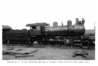 Thumbnail for F. P. Stevens photograph - Engine No. 1, on the Colorado Springs & Cripple Creek District Railroad, 1901