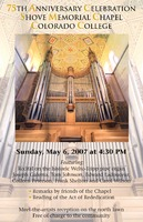 Thumbnail for 75th Anniversary Celebration Shove Memorial Chapel Colorado College. Poster.