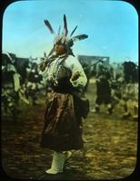Thumbnail for Huntress in satin dress and Navajo necklace. Buffalo Dance. 1910: A88