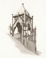 Thumbnail for Cutler Hall Tower sketch by Marshall Kean