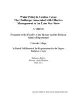 Thumbnail for Water policy in Central Texas : the challenges associated with effective management in the Lone Star State
