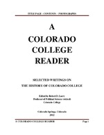 Thumbnail for A Colorado College Reader: Selected Writings on the History of Colorado College