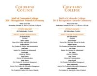 Thumbnail for Staff of Colorado College recognition awards ceremony program [2011]