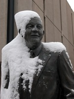 "Thumbnail for 2006 Snow cap Charles Leaming (""Chas"") Tutt statue, decorated."