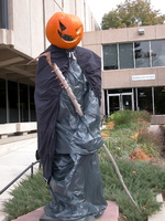 "Thumbnail for 2007 Pumpkin reaper Charles Leaming (""Chas"") Tutt statue, decorated."