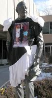 "Thumbnail for 2008 Prom Charles Leaming (""Chas"") Tutt statue, decorated."