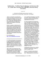 Thumbnail for Collaboration - no better time for libraries : an interview with Dr. Camila Alire, President-Elect, 2008-2009, American Library